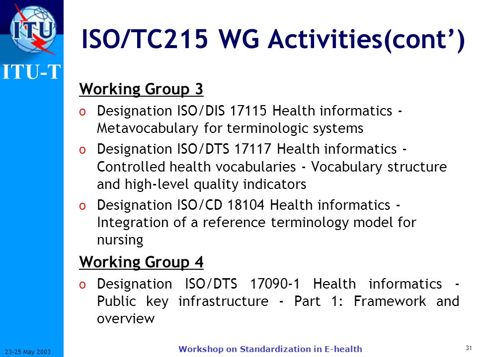 ITU-T 31 23-25 May 2003 Workshop on Standardization in E-health ISO/TC215 WG Activities(cont) Working Group 3 o Designation ISO/DIS 17115 Health infor