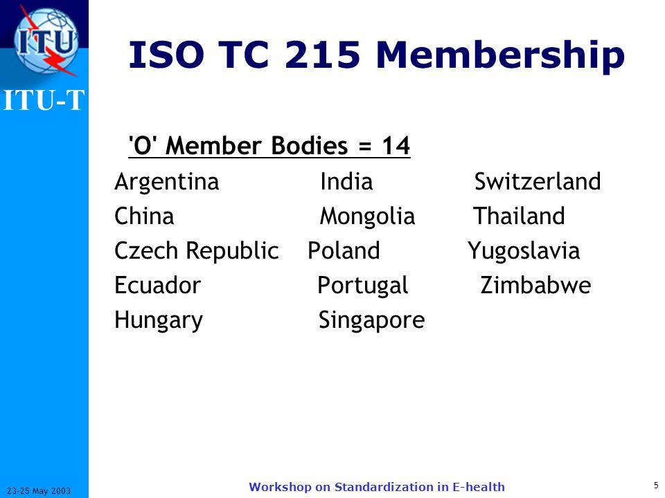 ITU-T 5 23-25 May 2003 Workshop on Standardization in E-health ISO TC 215 Membership 'O' Member Bodies = 14 Argentina India Switzerland China Mongolia