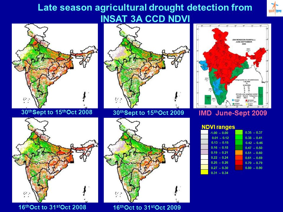 30 th Sept to 15 th Oct 2008 30 th Sept to 15 th Oct 2009 Late season agricultural drought detection from INSAT 3A CCD NDVI 16 th Oct to 31 st Oct 200