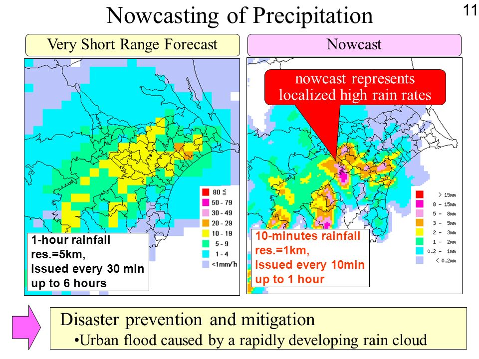 Nowcasting of Precipitation NowcastVery Short Range Forecast 1-hour rainfall res.=5km, issued every 30 min up to 6 hours 10-minutes rainfall res.=1km, issued every 10min up to 1 hour nowcast represents localized high rain rates Disaster prevention and mitigation Urban flood caused by a rapidly developing rain cloud 11