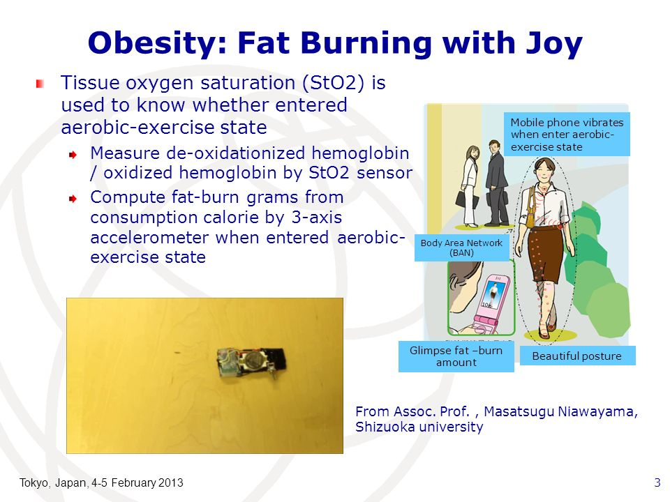 Obesity: Fat Burning with Joy Tissue oxygen saturation (StO2) is used to know whether entered aerobic-exercise state Measure de-oxidationized hemoglobin / oxidized hemoglobin by StO2 sensor Compute fat-burn grams from consumption calorie by 3-axis accelerometer when entered aerobic- exercise state From Assoc.