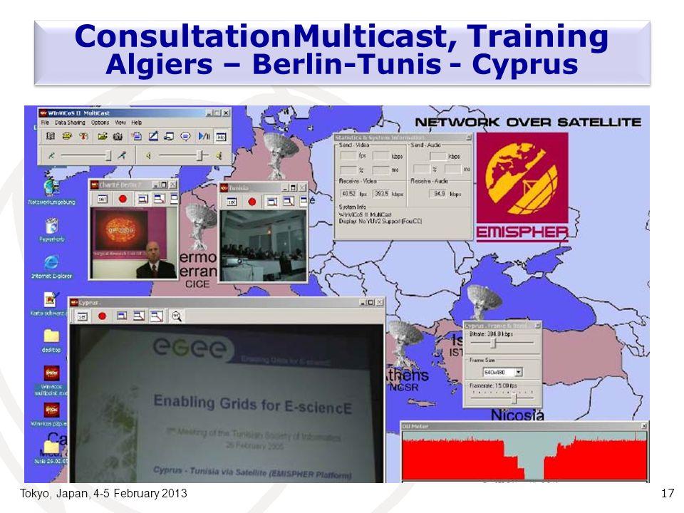 Tokyo, Japan, 4-5 February 2013 17 ConsultationMulticast, Training Algiers – Berlin-Tunis - Cyprus
