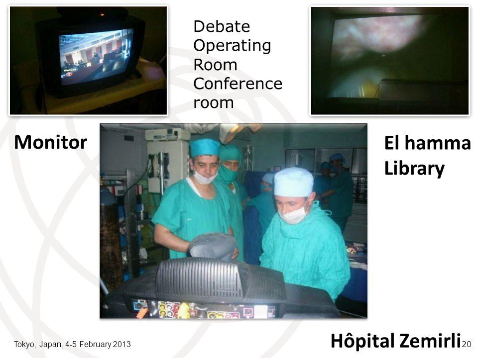 Tokyo, Japan, 4-5 February 2013 20 Debate Operating Room Conference room Hôpital Zemirli El hamma Library Monitor