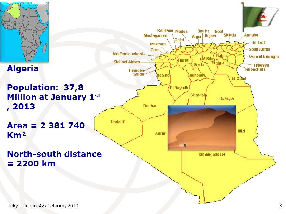 Tokyo, Japan, 4-5 February 2013 3 Algeria Population: 37,8 Million at January 1 st, 2013 Area = 2 381 740 Km² North-south distance = 2200 km