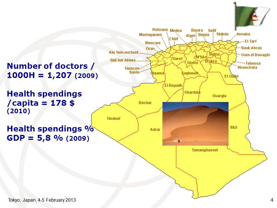 Tokyo, Japan, 4-5 February 2013 4 4 Number of doctors / 1000H = 1,207 (2009) Health spendings /capita = 178 $ (2010) Health spendings % GDP = 5,8 % (2009)
