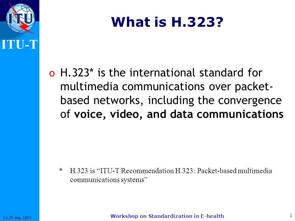 ITU-T 13 23-25 May 2003 Workshop on Standardization in E-health Todays H.323 Network Topology Service Provider IP Core Network GK Video Terminals Enterprise GK H.323 PSTN Gateways GK Directory Gatekeepers GK H.248 PSTN Gateways MGC Audio and Video Terminals GK
