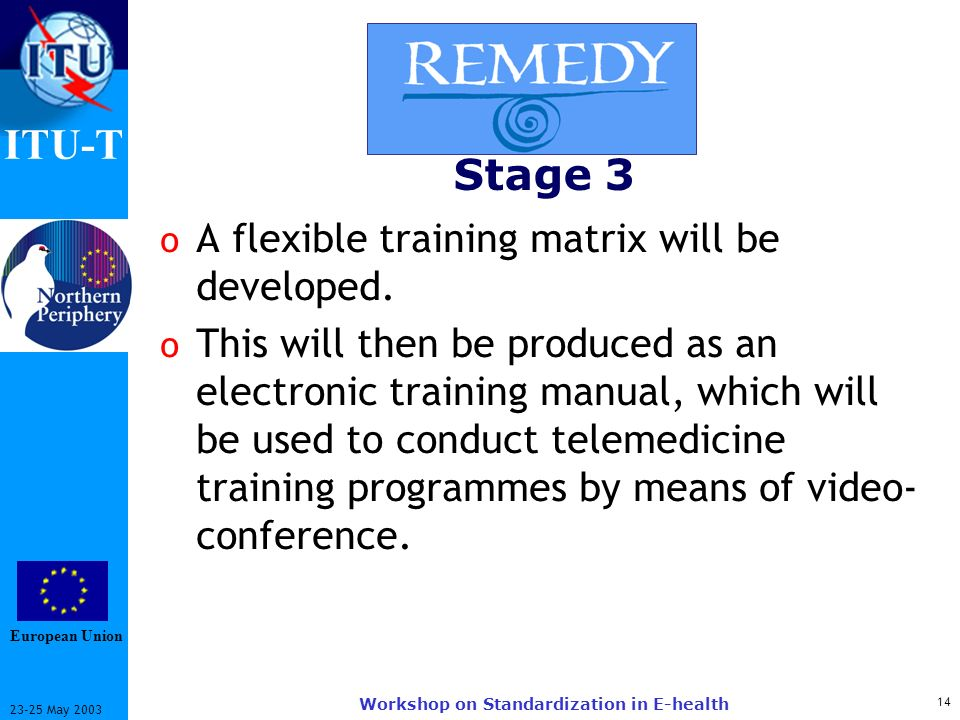 ITU-T May 2003 Workshop on Standardization in E-health Stage 3 o A flexible training matrix will be developed.