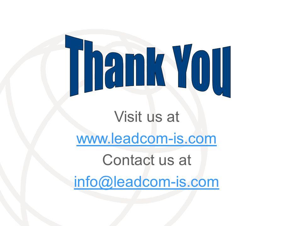 Visit us at www.leadcom-is.com Contact us at info@leadcom-is.com