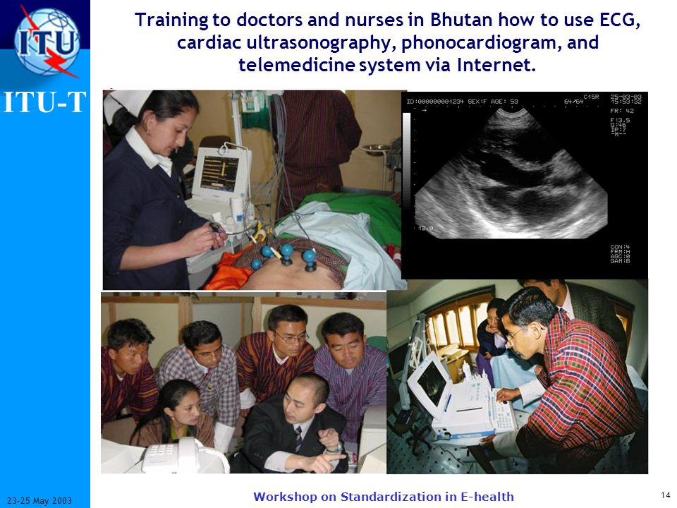 ITU-T 14 23-25 May 2003 Workshop on Standardization in E-health Training to doctors and nurses in Bhutan how to use ECG, cardiac ultrasonography, phon