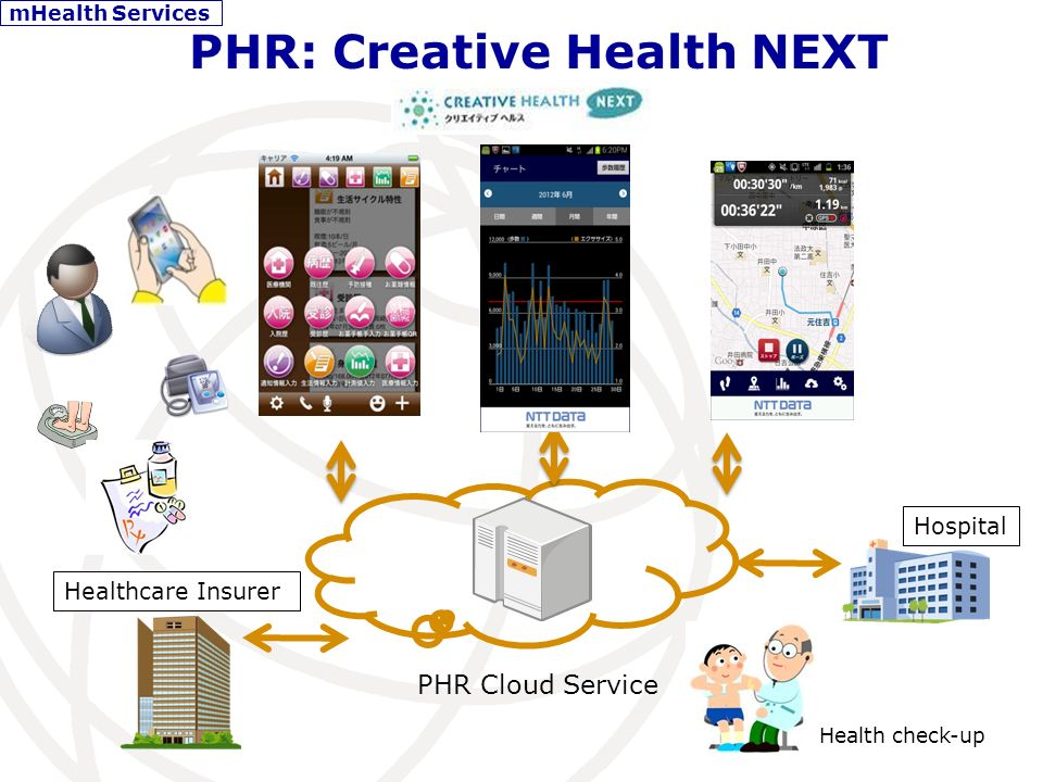 Medical History Drug Intake Allergies PHR:Creative Health NEXT - Self management Immunization Shots Life style Memo mHealth Services