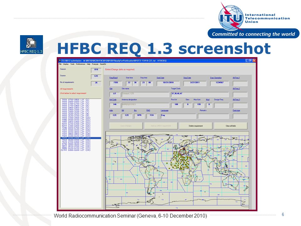 World Radiocommunication Seminar (Geneva, 6-10 December 2010) 6 HFBC REQ 1.3 screenshot