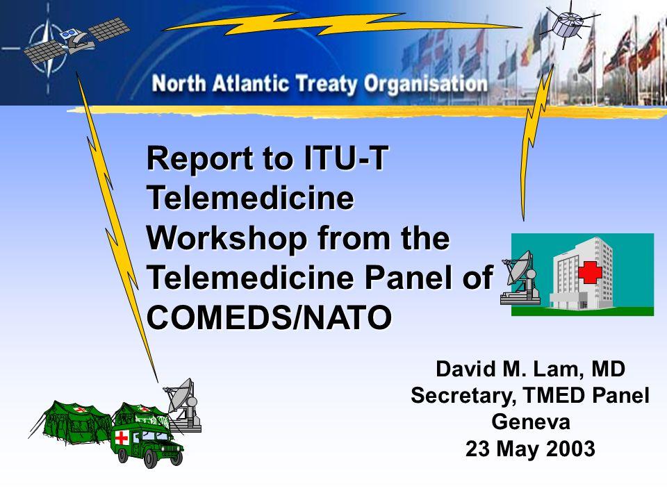 David M. Lam, MD Secretary, TMED Panel Geneva 23 May 2003 Report to ITU-T Telemedicine Workshop from the Telemedicine Panel of COMEDS/NATO