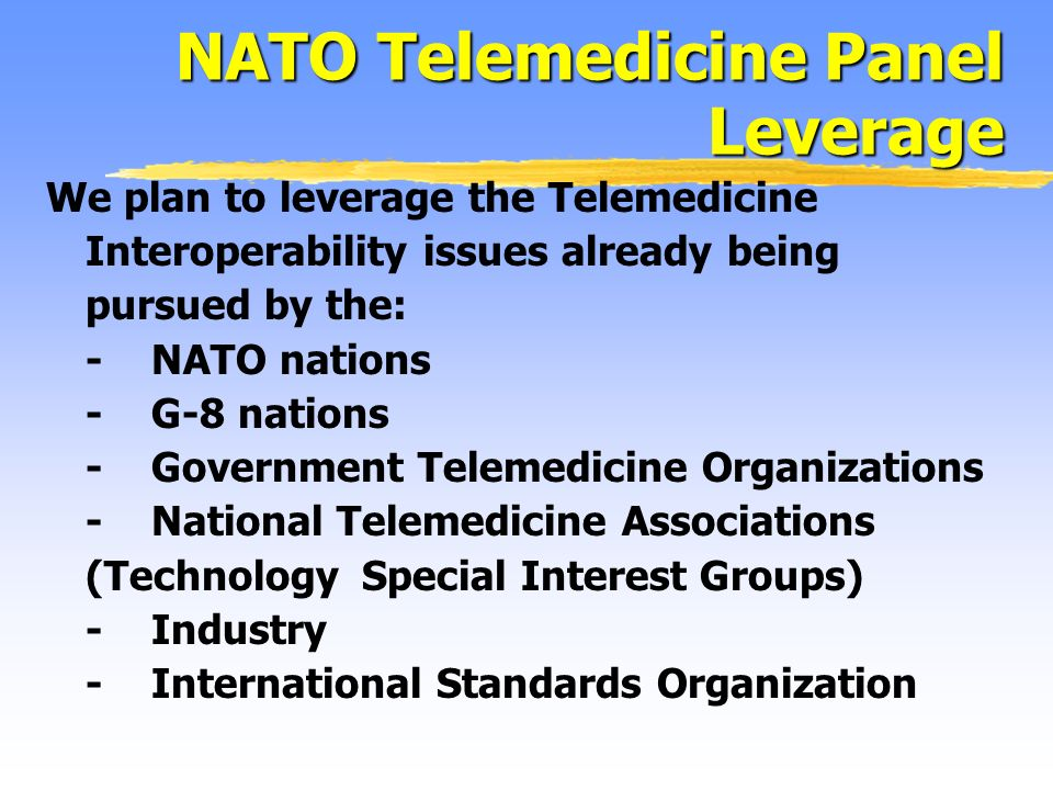 We plan to leverage the Telemedicine Interoperability issues already being pursued by the: -NATO nations -G-8 nations -Government Telemedicine Organizations -National Telemedicine Associations (Technology Special Interest Groups) -Industry -International Standards Organization NATO Telemedicine Panel Leverage