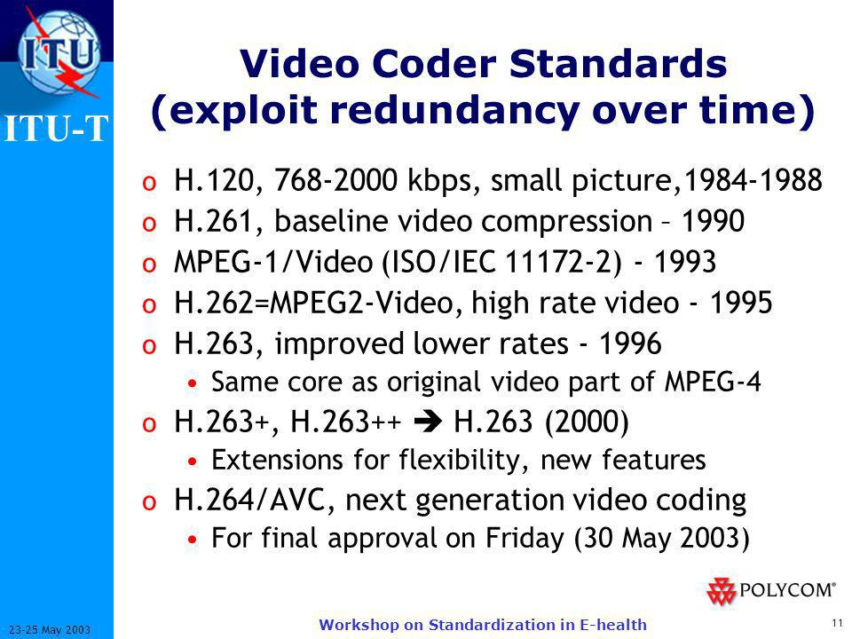 ITU-T 11 23-25 May 2003 Workshop on Standardization in E-health Video Coder Standards (exploit redundancy over time) o H.120, 768-2000 kbps, small picture,1984-1988 o H.261, baseline video compression – 1990 o MPEG-1/Video (ISO/IEC 11172-2) - 1993 o H.262=MPEG2-Video, high rate video - 1995 o H.263, improved lower rates - 1996 Same core as original video part of MPEG-4 o H.263+, H.263++ H.263 (2000) Extensions for flexibility, new features o H.264/AVC, next generation video coding For final approval on Friday (30 May 2003)