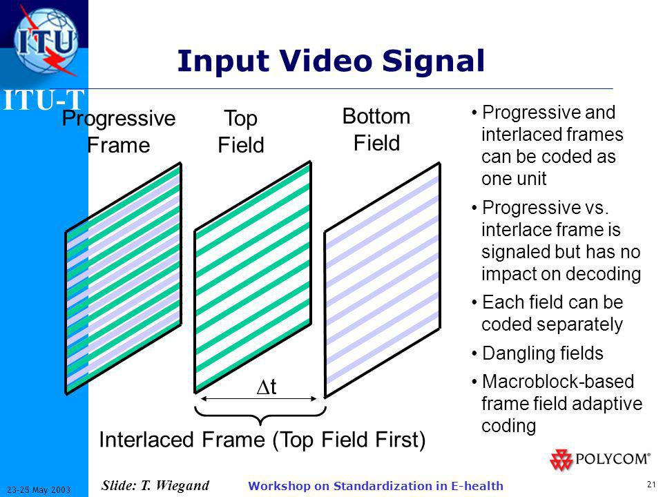 ITU-T 21 23-25 May 2003 Workshop on Standardization in E-health Input Video Signal Progressive Frame Top Field Bottom Field Interlaced Frame (Top Field First) Progressive and interlaced frames can be coded as one unit Progressive vs.