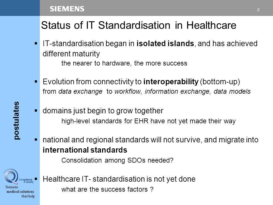 Siemens medical solutions that help Competence in Quality IT-Standardisation in Healthcare - Coordination of international Activities ITU workshop Gen