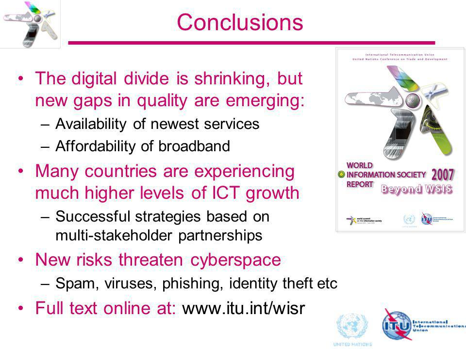 Conclusions The digital divide is shrinking, but new gaps in quality are emerging: –Availability of newest services –Affordability of broadband Many c