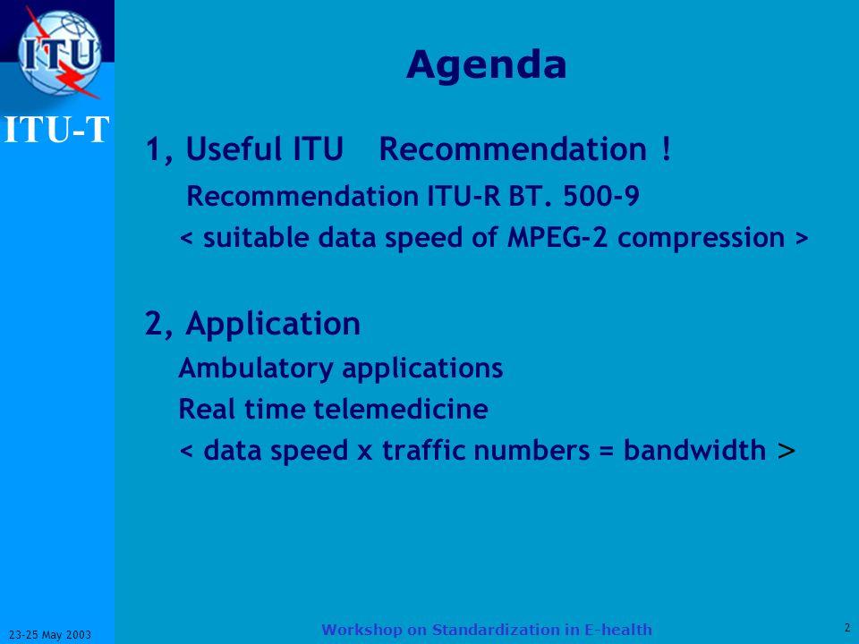 ITU-T 2 23-25 May 2003 Workshop on Standardization in E-health Agenda 1, Useful ITU Recommendation ! Recommendation ITU-R BT. 500-9 2, Application Amb