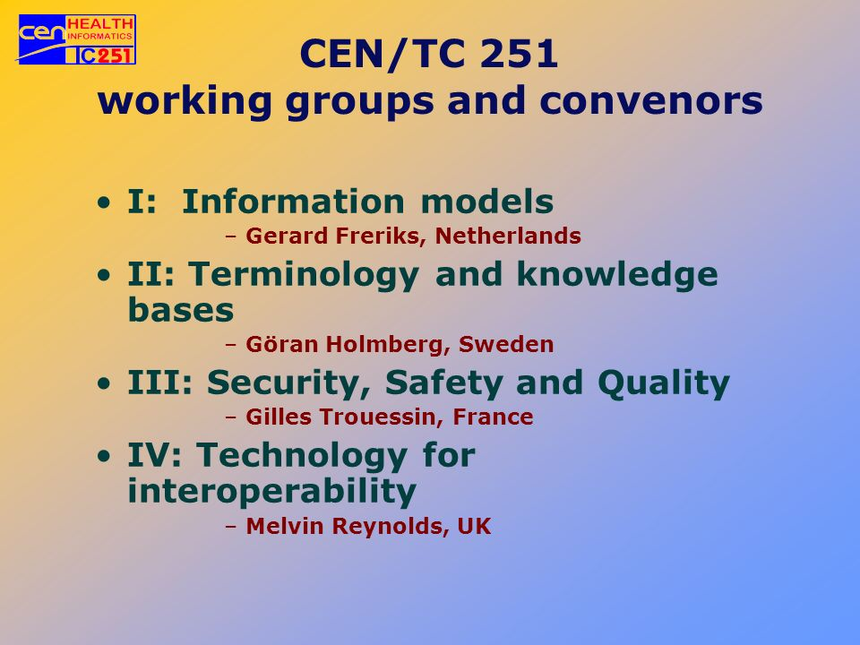 CEN/TC 251 working groups and convenors I: Information models –Gerard Freriks, Netherlands II: Terminology and knowledge bases –Göran Holmberg, Sweden