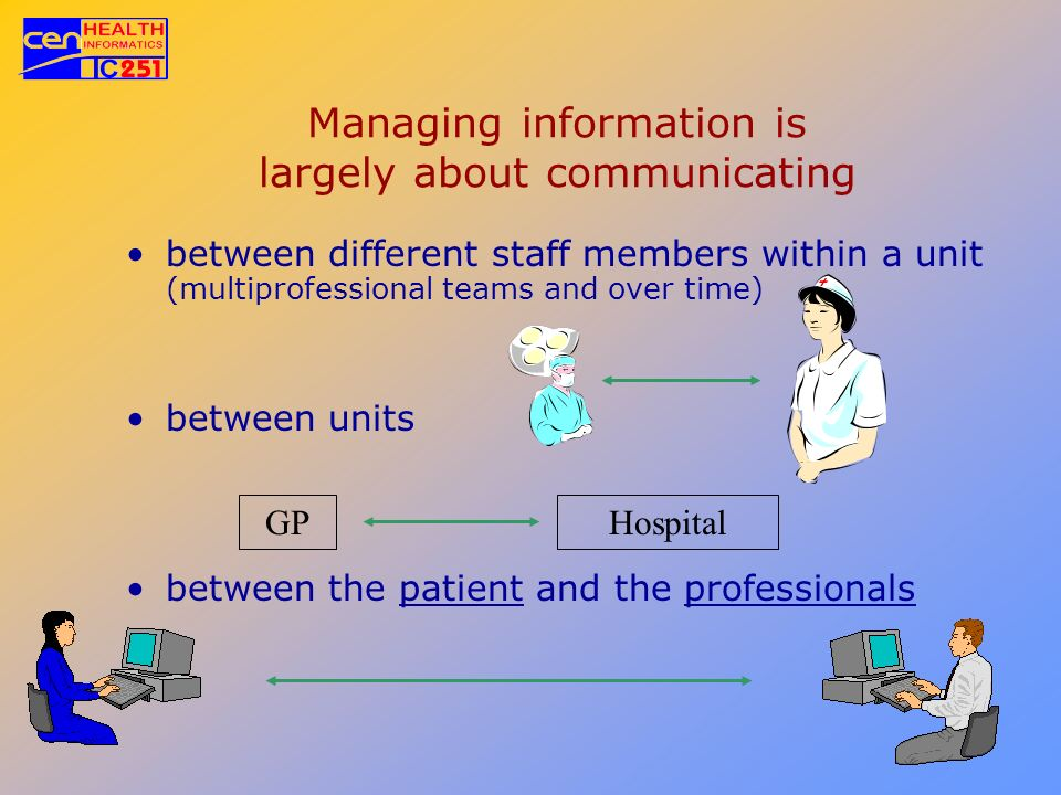 Managing information is largely about communicating between different staff members within a unit (multiprofessional teams and over time) between unit