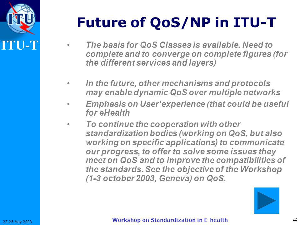 ITU-T May 2003 Workshop on Standardization in E-health Future of QoS/NP in ITU-T The basis for QoS Classes is available.