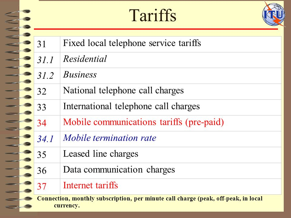Tariffs Connection, monthly subscription, per minute call charge (peak, off-peak, in local currency.