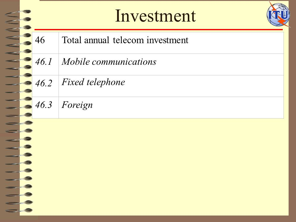 Investment 46Total annual telecom investment 46.1Mobile communications 46.2 Fixed telephone 46.3Foreign