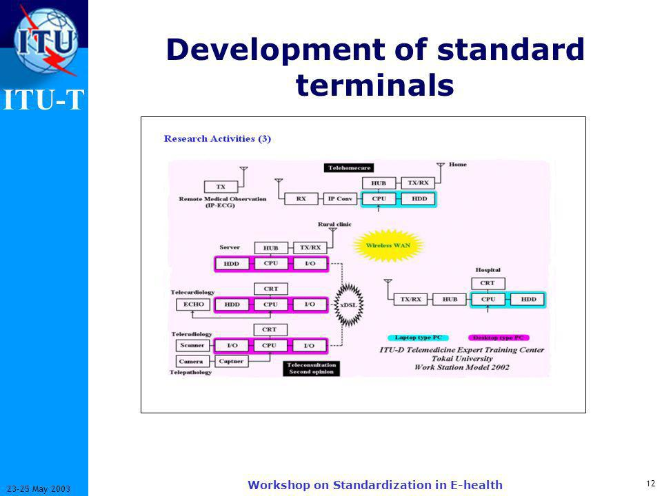 ITU-T 12 23-25 May 2003 Workshop on Standardization in E-health Development of standard terminals
