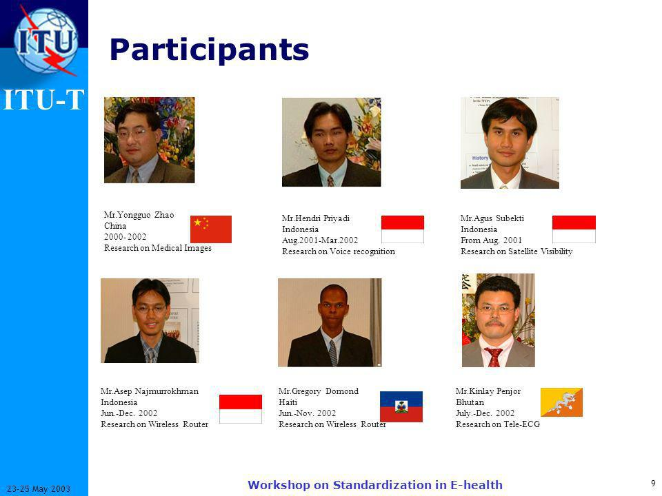 ITU-T 10 23-25 May 2003 Workshop on Standardization in E-health Research Activities