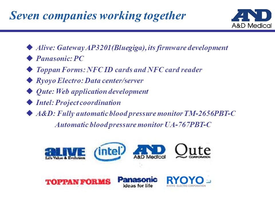 Alive: Gateway AP3201(Bluegiga), its firmware development Panasonic: PC Toppan Forms: NFC ID cards and NFC card reader Ryoyo Electro: Data center/serv