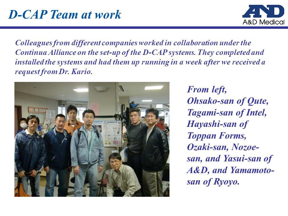 From left, Ohsako-san of Qute, Tagami-san of Intel, Hayashi-san of Toppan Forms, Ozaki-san, Nozoe- san, and Yasui-san of A&D, and Yamamoto- san of Ryoyo.
