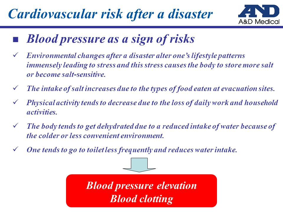 Cardiovascular risk after a disaster Blood pressure as a sign of risks Environmental changes after a disaster alter ones lifestyle patterns immensely