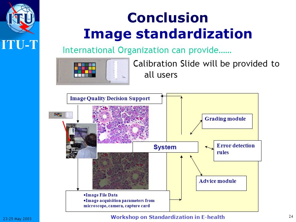 ITU-T 24 23-25 May 2003 Workshop on Standardization in E-health Image Quality Decision Support Image File Data Image acquisition parameters from microscope, camera, capture card Error detection rules Advice module Grading module System Conclusion Image standardization Calibration Slide will be provided to all users International Organization can provide……