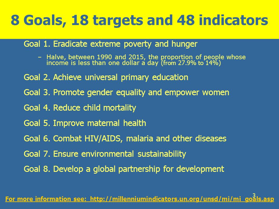 3 8 Goals, 18 targets and 48 indicators Goal 1. Eradicate extreme poverty and hunger –Halve, between 1990 and 2015, the proportion of people whose inc