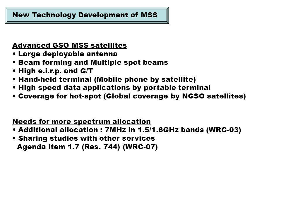 Advanced GSO MSS satellites Large deployable antenna Beam forming and Multiple spot beams High e.i.r.p.