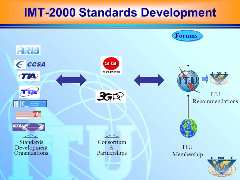 Standards Development Organizations Consortium & Partnerships CCSA Forums ITU Membership ITU Recommendations IMT-2000 Standards Development