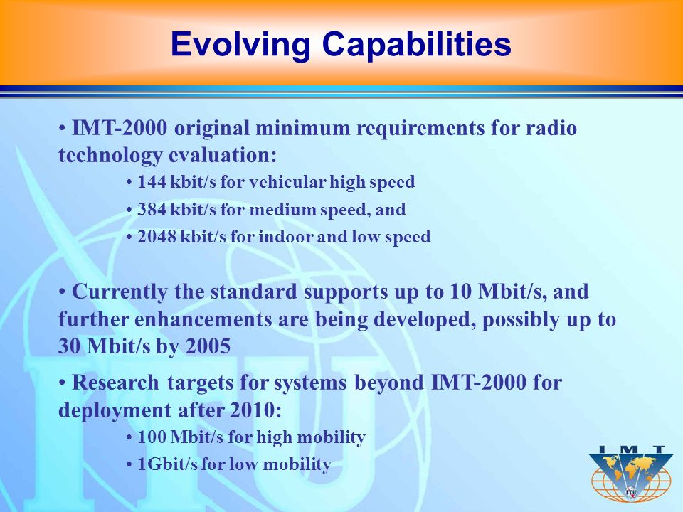 IMT-2000 original minimum requirements for radio technology evaluation: 144 kbit/s for vehicular high speed 384 kbit/s for medium speed, and 2048 kbit