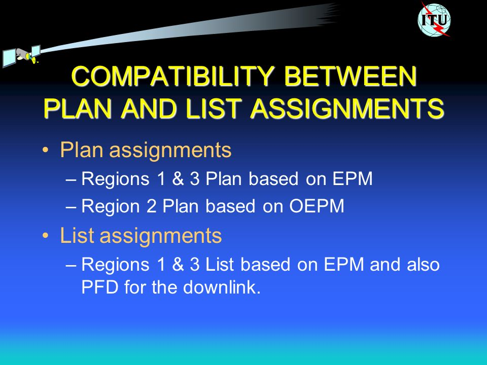 COMPATIBILITY BETWEEN PLAN AND LIST ASSIGNMENTS Plan assignments –Regions 1 & 3 Plan based on EPM –Region 2 Plan based on OEPM List assignments –Regions 1 & 3 List based on EPM and also PFD for the downlink.