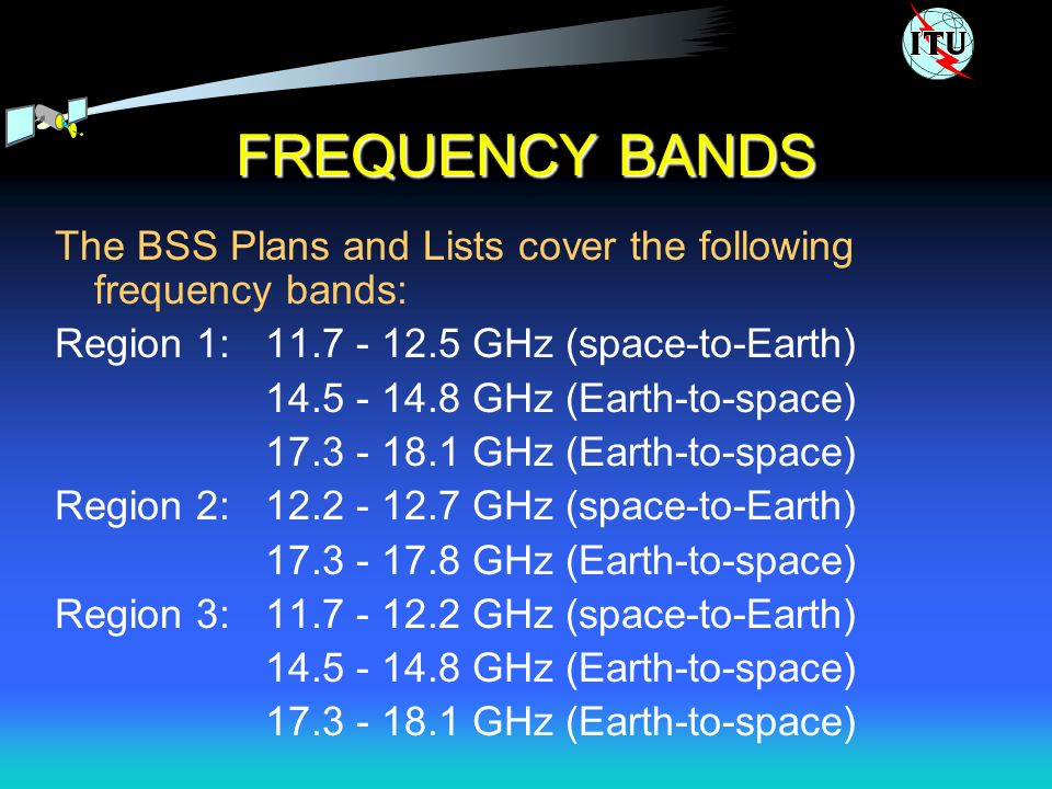 FREQUENCY BANDS The BSS Plans and Lists cover the following frequency bands: Region 1: 11.7 - 12.5 GHz (space-to-Earth) 14.5 - 14.8 GHz (Earth-to-space) 17.3 - 18.1 GHz (Earth-to-space) Region 2: 12.2 - 12.7 GHz (space-to-Earth) 17.3 - 17.8 GHz (Earth-to-space) Region 3: 11.7 - 12.2 GHz (space-to-Earth) 14.5 - 14.8 GHz (Earth-to-space) 17.3 - 18.1 GHz (Earth-to-space)