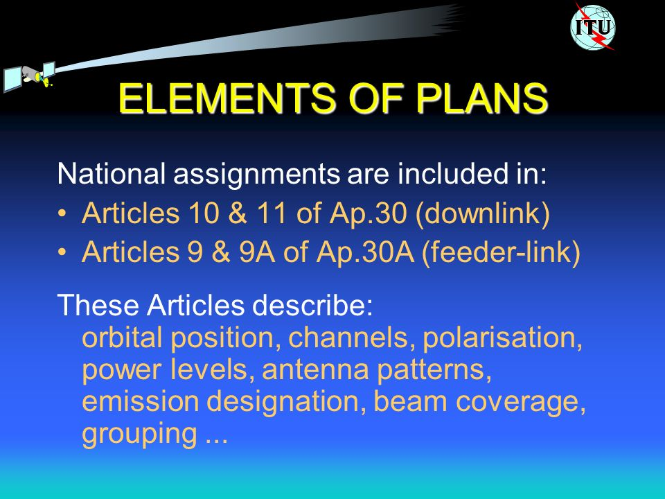ELEMENTS OF PLANS National assignments are included in: Articles 10 & 11 of Ap.30 (downlink) Articles 9 & 9A of Ap.30A (feeder-link) These Articles describe: orbital position, channels, polarisation, power levels, antenna patterns, emission designation, beam coverage, grouping...