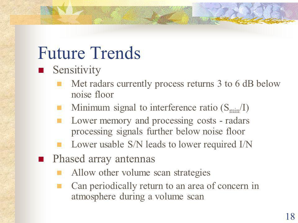 18 Future Trends Sensitivity Met radars currently process returns 3 to 6 dB below noise floor Minimum signal to interference ratio (S min /I) Lower memory and processing costs - radars processing signals further below noise floor Lower usable S/N leads to lower required I/N Phased array antennas Allow other volume scan strategies Can periodically return to an area of concern in atmosphere during a volume scan
