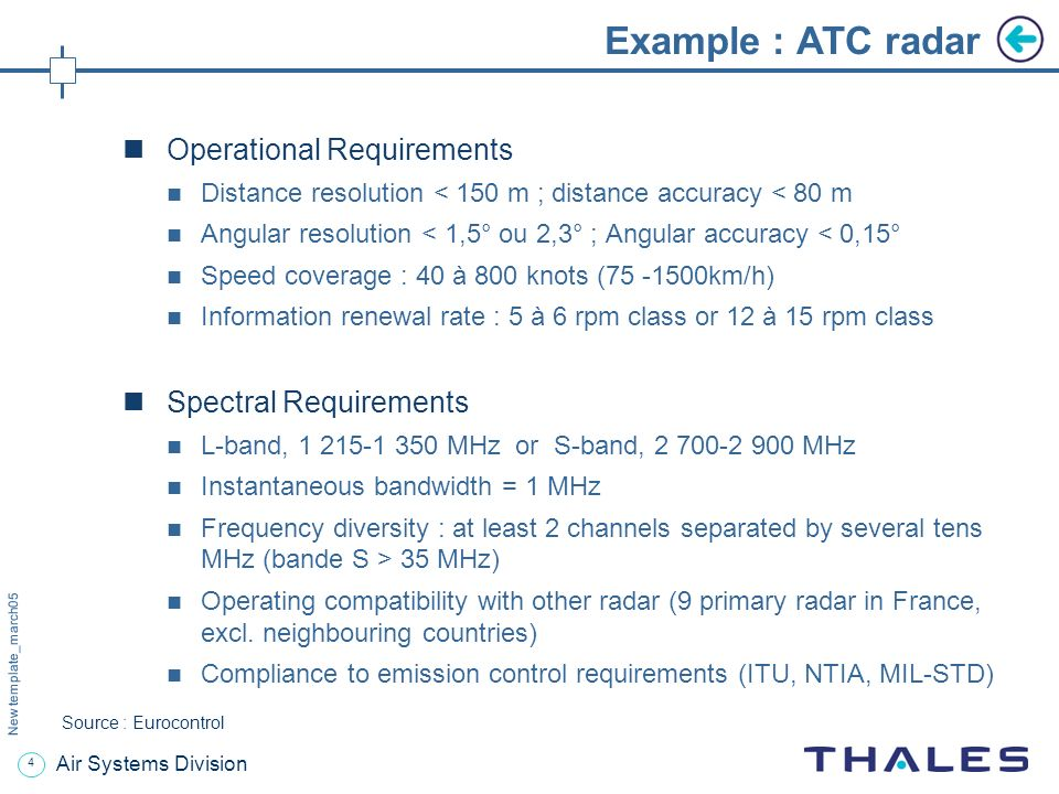 3 New template_march05 Air Systems Division Example : ATC radar Operational requirement : exhaustive, continuous, reliable coverage for aircraft separation of 3, 5 or 10 MN Source : Eurocontrol
