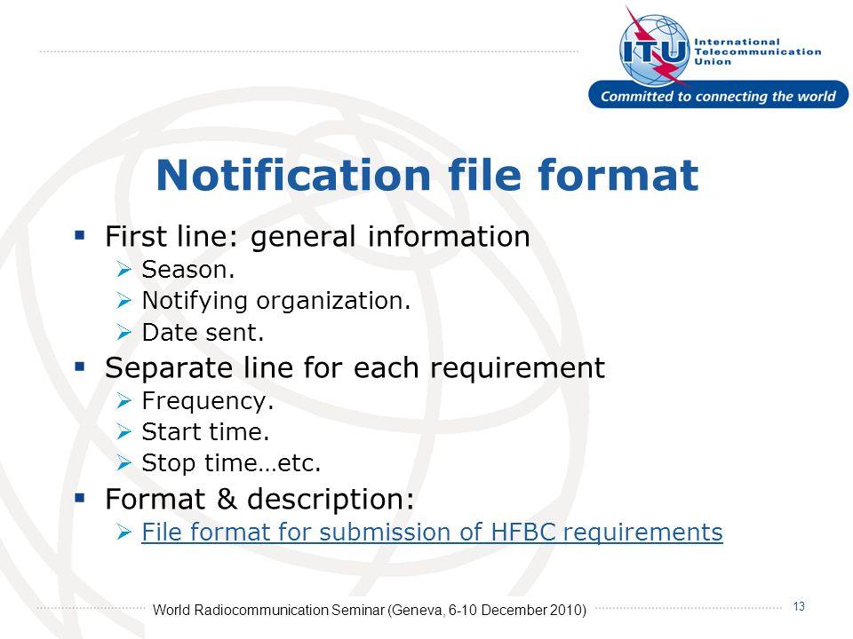 World Radiocommunication Seminar (Geneva, 6-10 December 2010) 13 Notification file format First line: general information Season.