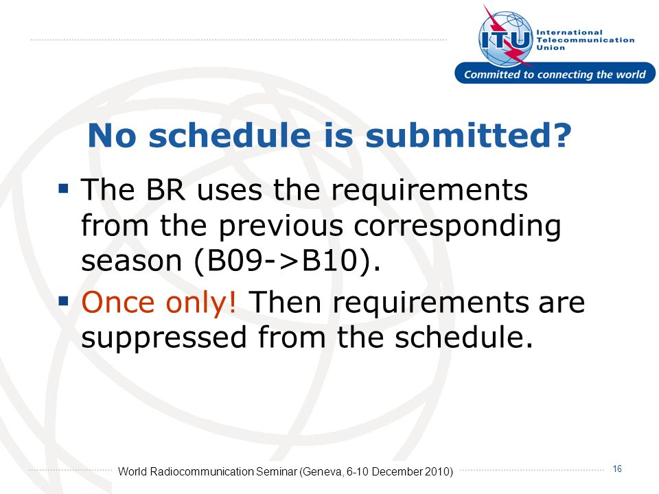 World Radiocommunication Seminar (Geneva, 6-10 December 2010) 16 No schedule is submitted.