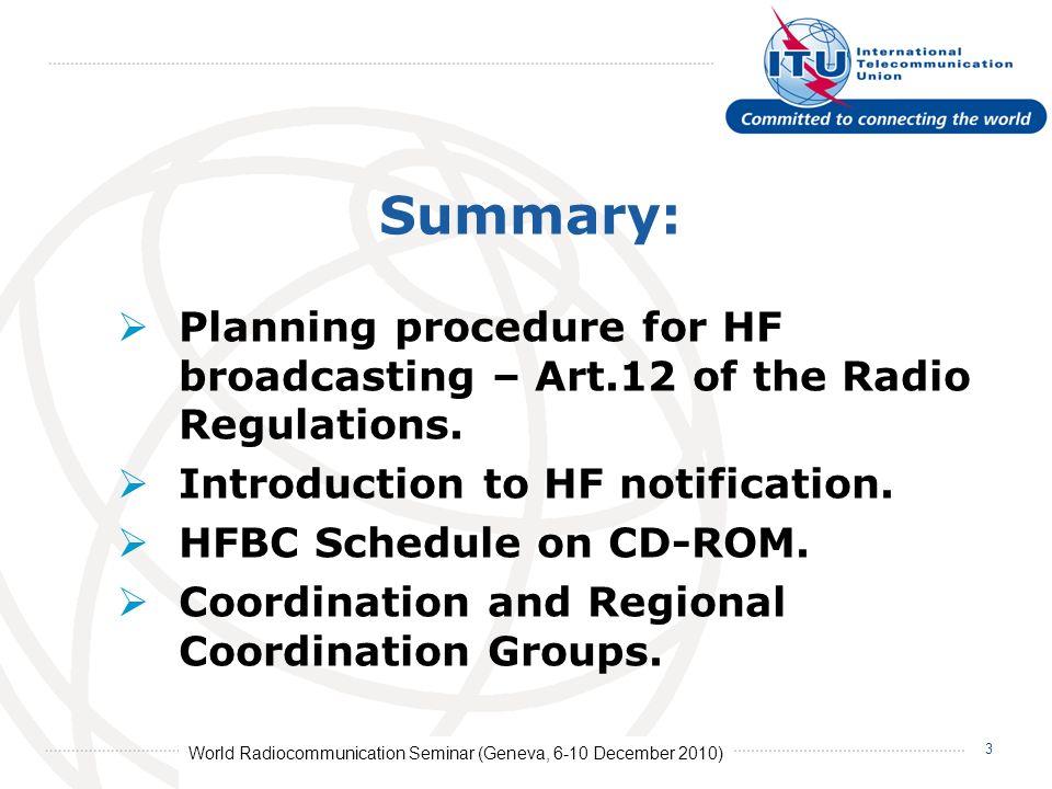 World Radiocommunication Seminar (Geneva, 6-10 December 2010) 4 The Planning Procedure for HF broadcasting Article 12 of the Radio Regulations Introduction Adopted by the World Radiocommunication Conference 1997 (WRC-97).