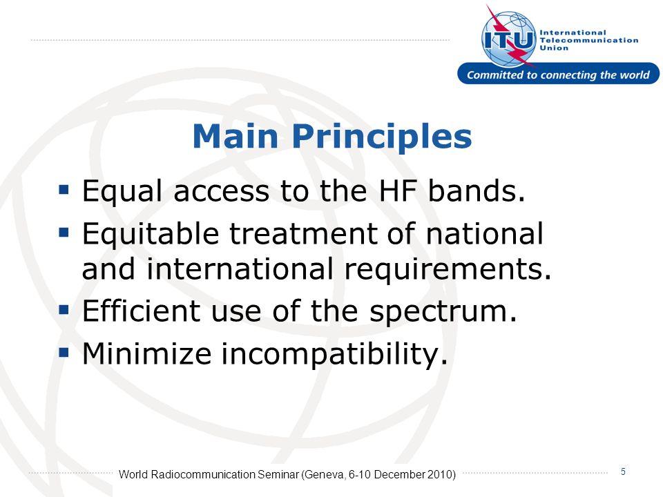 World Radiocommunication Seminar (Geneva, 6-10 December 2010) 16 No schedule is submitted.