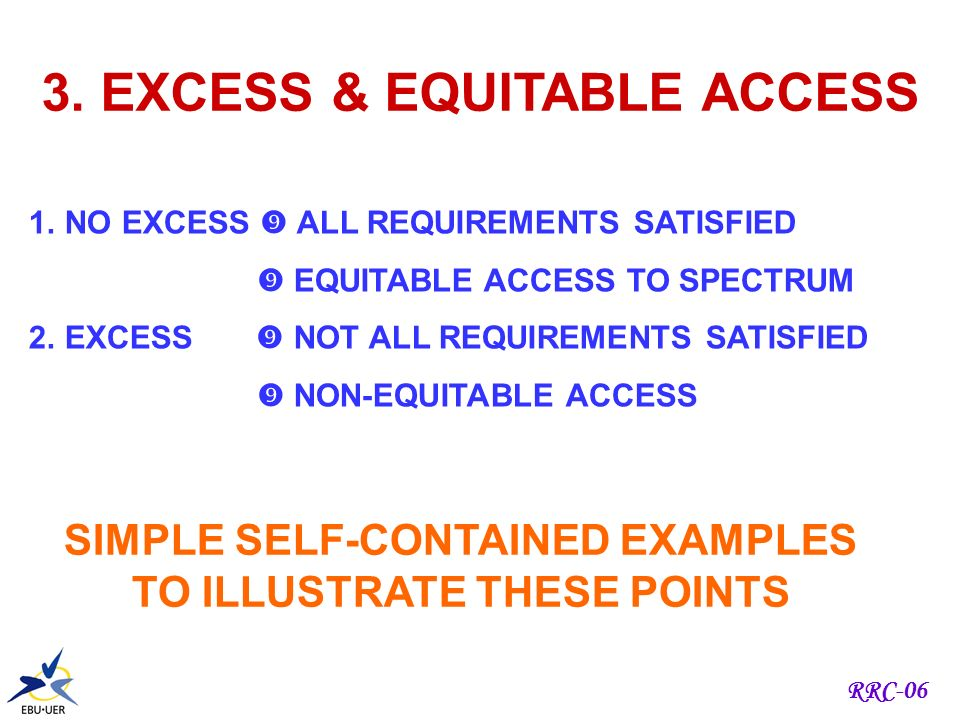 RRC-06 2. SYNTHESIS 1.AIM ALL REQUIREMENTS ASSIGNED MAXIMUM NUMBER ASSIGNED 2. CONSTRAINTS AMOUNT OF SPECTRUM NUMBER OF REQUIREMENTS ALL REQUIREMENTS
