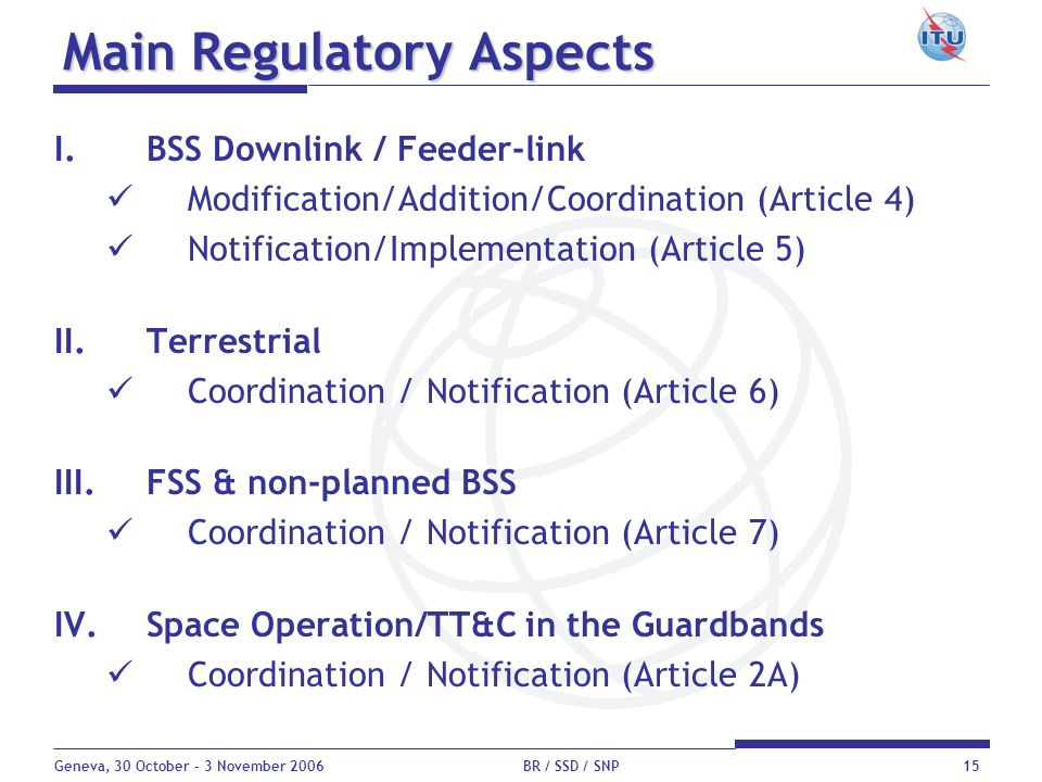 Geneva, 30 October - 3 November 2006 BR / SSD / SNP15 Main Regulatory Aspects I.BSS Downlink / Feeder-link Modification/Addition/Coordination (Article