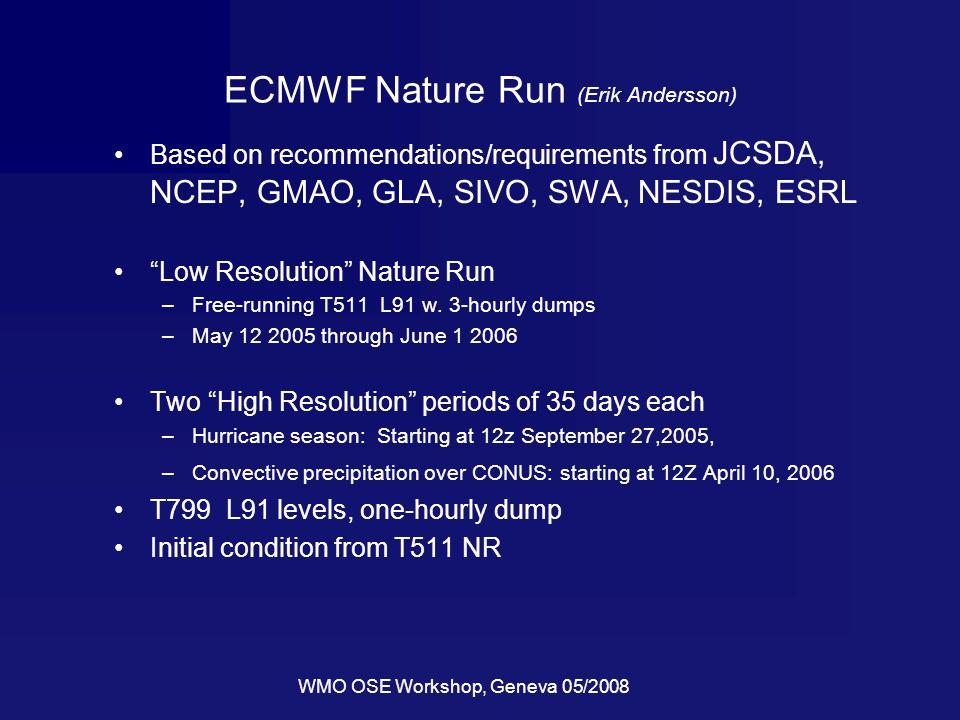 WMO OSE Workshop, Geneva 05/2008 ECMWF Nature Run (Erik Andersson) Based on recommendations/requirements from JCSDA, NCEP, GMAO, GLA, SIVO, SWA, NESDI