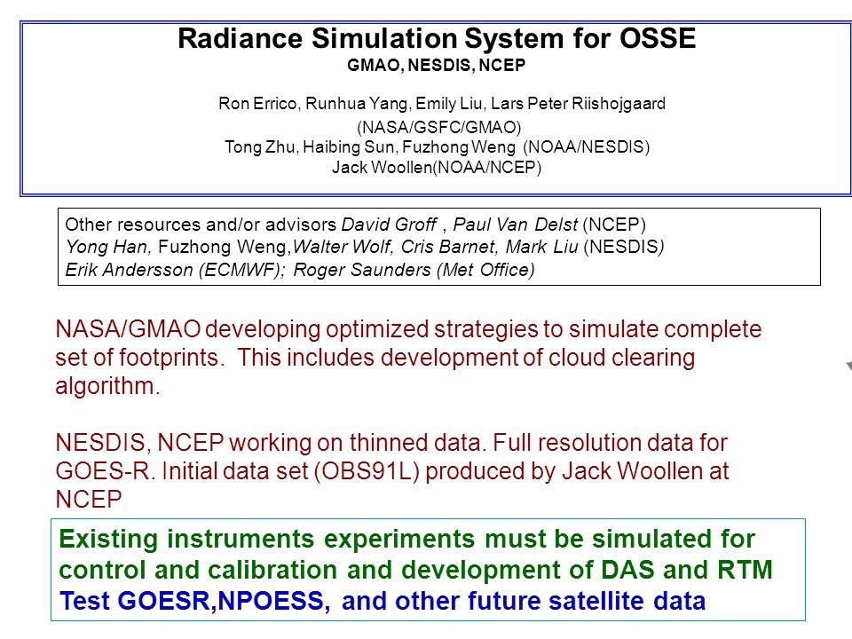 Radiance Simulation System for OSSE GMAO, NESDIS, NCEP Ron Errico, Runhua Yang, Emily Liu, Lars Peter Riishojgaard (NASA/GSFC/GMAO) Tong Zhu, Haibing